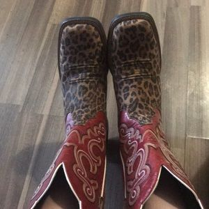 Red Cheetah Print Cowgirl Boots